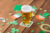 glass of beer and st patricks day party props