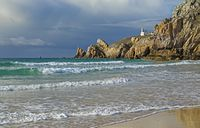 Lighthouse at the Atlantic Ocean, Brittany, France