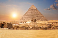 Wonderful view on the Sphinx and the Pyramid of Chephren in Egypt
