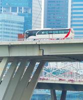 Bus driving overpass bridge, Singapore