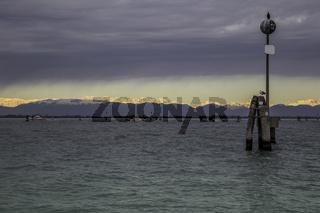 Winter morning on Venice lagoon