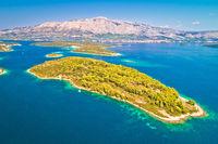 Aerial view of Vrnik island in Korcula archipelago