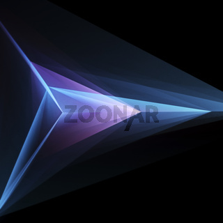 Abstract Glowing Triangular Geometric Shape On Black Background