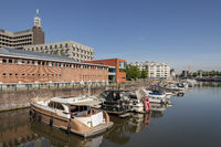 Ghent, Belgium - June 13, 2017: Boats in Portus Ganda, the new urban marina close to the center of town
