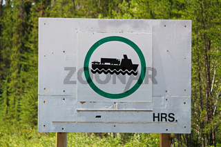 Signs indicating that the ferry is operational