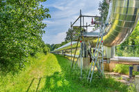 Large metal gas pipeline transports gas in the netherlands