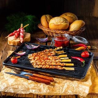 Fresh and crispy rustic pork belly grill sticks