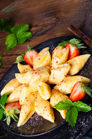 Kopytka - polish potato dumpling with strawberries