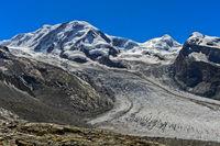 Peaks Liskamm, Castor and Pollux and glacier Grenzgletscher, Zermatt, Valais, Switzerland