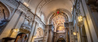 panoramic church interior of Bologna cathedral of San Pietro in Italy