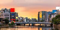 Fukuoka Naka River Yatai Food Street Panorama