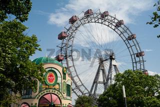 Wien, Oesterreich, Wiener Riesenrad auf der Wiener Prater Kirmes