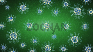 Yellow - Blue Flowers On Green Background. Spring Concept