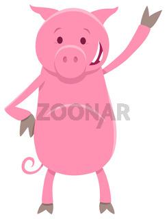 funny pig animal character cartoon illustration
