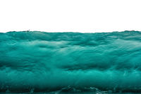 Deep dark turquoise blue underwater background isolated on white. Sea or ocean storm wave front view. Climate nature concept