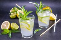 Homemade refreshing summer lemonade with mint in glasses