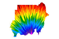 Sudan - map is designed rainbow abstract colorful pattern, Republic of the Sudan (North Sudan) map made of color explosion,