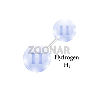 Molecule of Hydrogen. Chemical Element of the Periodic Table