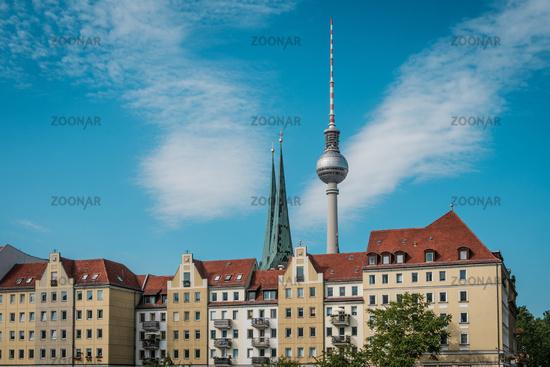 Television  Tower (Fernsehturm),  behind historic district (Nikolaiviertel) in Berlin Germany -