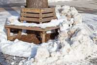 Bench covered in ice and snow on a tree