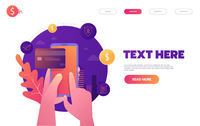 Online banking, mobile payment, pay per click, money transfer concept. Flat design style vector illustration