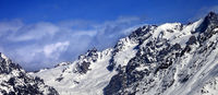 Mountains with glacier in snow at winter sun day