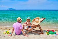 Family on beach in Greece