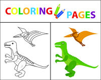 Coloring book page for kids. Dinosaurs set. Sketch outline and color version. Childrens education. Vector illustration