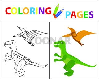 Coloring book page for kids. Dinosaurs set. Sketch outline and color version. Childrens education. Vector illustration