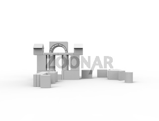 3d rendering of stacked white building blocks isolated on white background