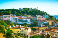 Lisbon Castle Skyline Portugal daytime