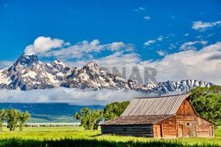 Old barn in Grand Teton Mountains