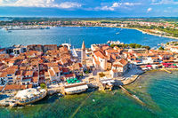 Town of Umag historic coastline architecture aerial view