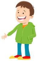 happy boy cartoon character in sweatshirt