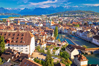 City of Luzern riverfront and rooftops aerial viewcccccccccccccccccccc