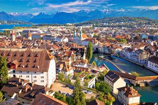 City of Luzern riverfront and rooftops aerial viewcccccccccccccccccccc