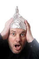 crazy man wearing tin foil hat