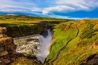 The picturesque waterfall in Iceland - Gullfoss