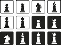 Chess pieces in flat and geometric style.