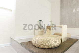 Japanese Sitting Cushions on Ground Modern Contemporary Interior Design Furniture White