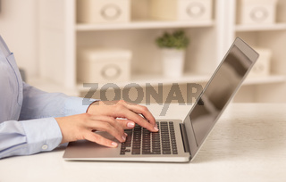 Business woman working on her laptop in a cozy environment