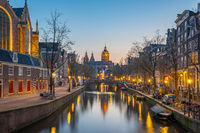 Church of Saint Nicholas in Amsterdam city at night
