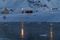 Frozen bay, Hasvik, Soeroeya Island, Finnmark, Norway