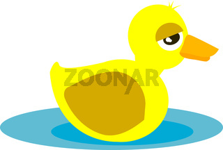 Yellow duck vector color illustration.