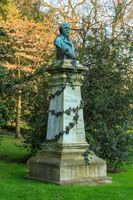 Paris, France, March 27 2017: Henry Murger statue at the Luxembourg Palace garden Historic Luxembourg Gardens (Jardin du Luxembourg)- public garden in the 6th arrondissement of Paris, France
