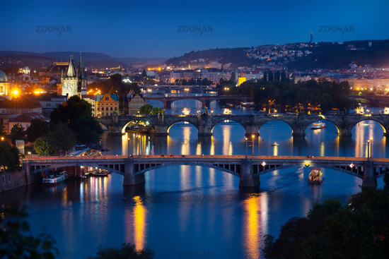 Illuminated bridges in Praha