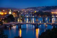 Illuminated bridges in Praha