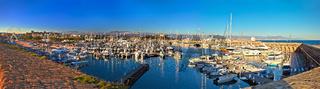 Anntibes waterfront anf Port Vauban harbor panoramic view