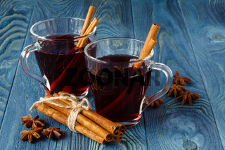 Fall hot alcohol mulled wine with spices