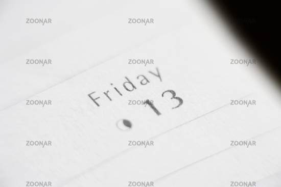 Friday 13th date calendar entry. Superstition and bad luck concept.